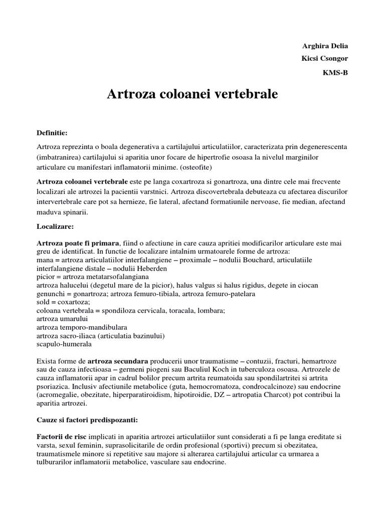 artroza articulațiilor arcuite ale coloanei vertebrale)