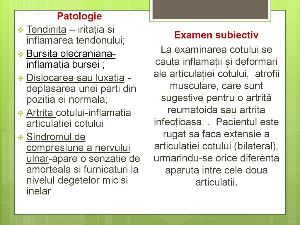 inflamația articulației cotului articulațiile șoldului humeral