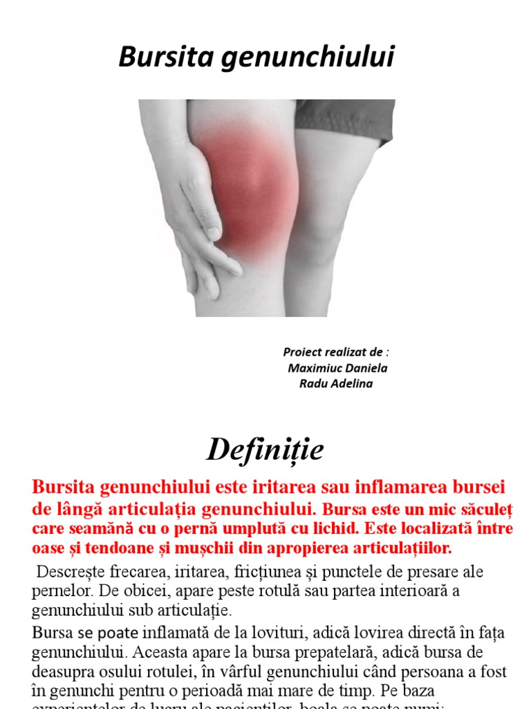 bursită dureroasă la genunchi Clinica de artroză la șold